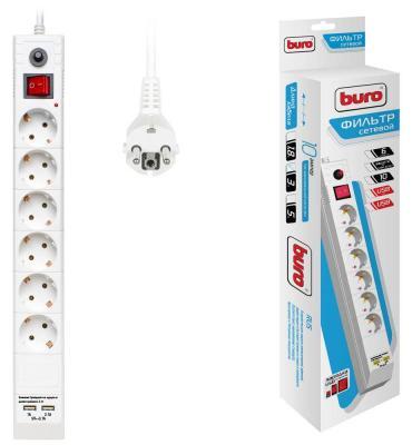 Сетевой фильтр BURO BU-SP3_USB_2A-W белый 6 розеток 3 м