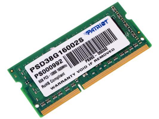 Оперативная память для ноутбуков SO-DDR3 8Gb PC12800 1600MHz Patriot PSD38G16002S