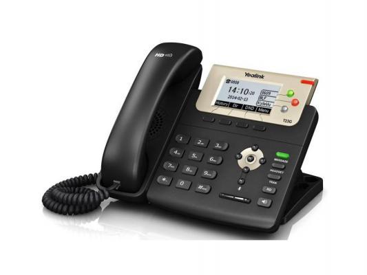 Телефон IP Yealink SIP-T23G 3 SIP-аккаунта 2x10/100/1000Mbps 2.8 LCD PoE BLF BLA телефон dect gigaset l410 устройство громкой связи