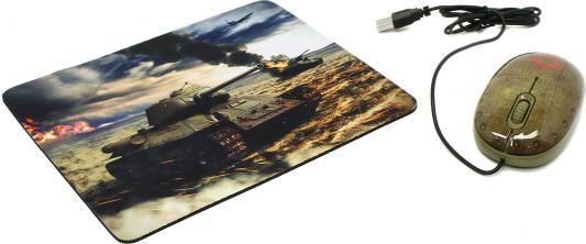 Мышь проводная CBR Tank Battle зелёный USB + коврик