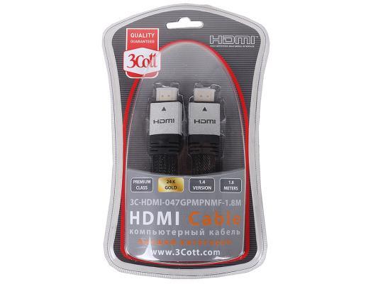Кабель HDMI 1.8м 3Cott Ver.1.4 3D + Ethernet позолоченные коннекторы нейлоновая оплетка 3C-HDMI-047GPMPNMF-1.8M
