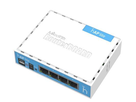 Маршрутизатор MikroTik hAP lite 802.11bgn 300Mbps 2.4 ГГц 3xLAN белый