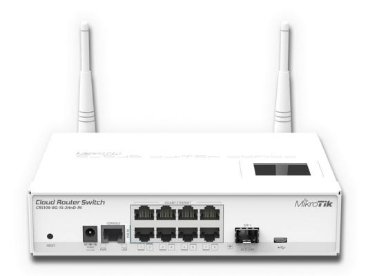 Маршрутизатор Mikrotik CRS109-8G-1S-2HnD-IN 8x10/100/1000Mbps 1xSFP 1xmicroUSB Wi-Fi коммутатор mikrotik crs109 8g 1s 2hnd in
