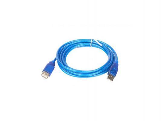 Кабель удлинительный USB 2.0 AM-AF 5.0м VCOM Telecom прозрачная изоляция голубой VUS6956