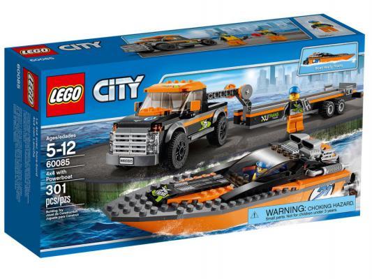 Конструктор Lego City Внедорожник 4 x 4 с гоночным катером 301 элемент 60085