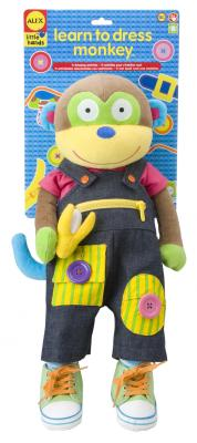 Мягкая игрушка обезьянка Alex Учимся одеваться текстиль разноцветный 56 см 1492