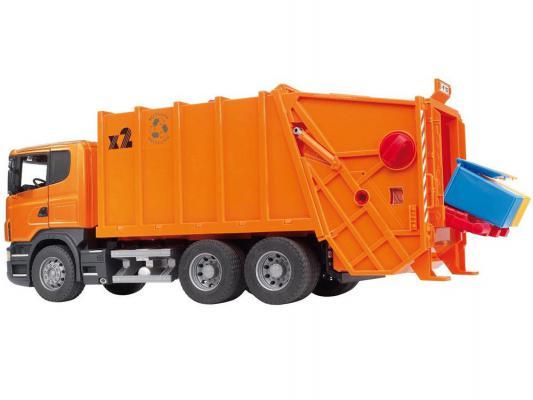 Мусоровоз Bruder Scania (подходит модуль со звуком и светом H) оранжевый 1 шт 62 см 03-560