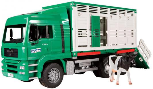 Фургон Bruder MAN для перевозки животных с коровой зеленый 1 шт 52 см 02-749