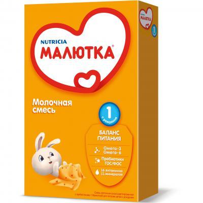 Купить Заменитель Малютка 1 с пищевыми волокнами и нуклеотидами 0-6 мес. 350 гр.