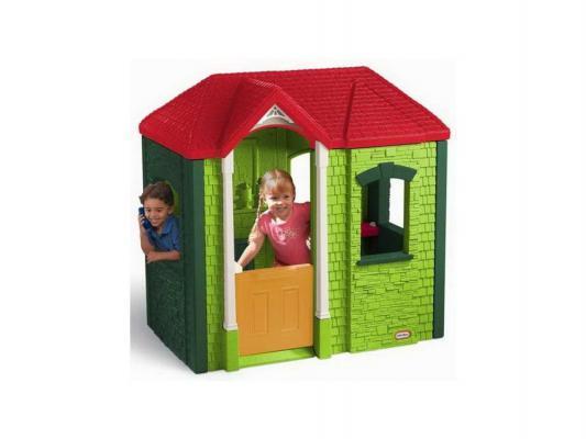 Игровой домик Little Tikes зеленый с красной крышей