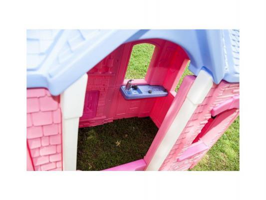 Игровой домик розовый Little Tikes с фиолетовой крышей