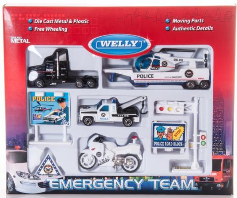 Игровой набор Welly Служба спасения - полиция разноцветный 9 шт 98630-9A цена