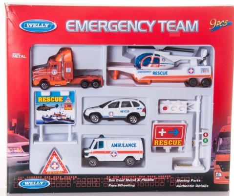 Набор Welly Служба спасения - скорая помощь разноцветный 9 шт 98630-9B welly welly набор служба спасения скорая помощь 4 штуки