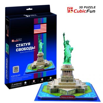 Пазл 3D CubicFun 3D пазл Статуя Свободы (США) 39 элементов 3d пазл expetro голова снежного барана blue 10634