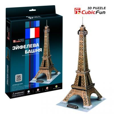 Пазл 3D CubicFun Эйфелева Башня (Франция) 35 элементов C044H cubicfun 3d пазл эйфелева башня париж cubicfun 82 детали