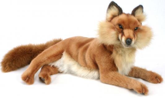 Мягкая игрушка лисица Hansa Лиса лежащая плюш коричневый 45 см 4765