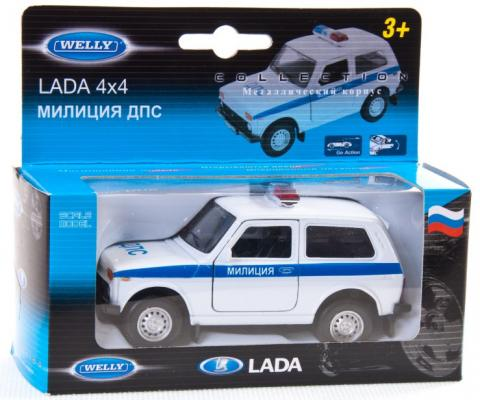 Автомобиль Welly Lada 4x4 Милиция ДПС 1:34-39 белый 42386РВ
