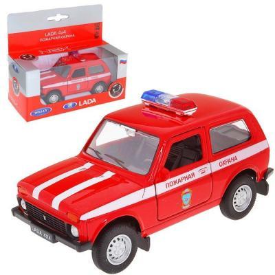 Автомобиль Welly LADA 4x4 Пожарная охрана 1:34-39 красный