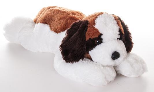 Мягкая игрушка собака Aurora Сенбернар плюш синтепон белый черный коричневый 70 см
