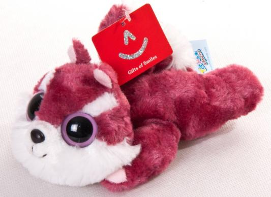 Мягкая игрушка герой мультфильма Aurora Юху и друзья Белка Чиву лежачая ткань пластик красный белый 23 см