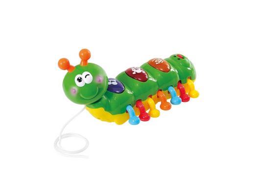 Каталка на шнурке Playgo Гусеница зеленый от 1 года пластик каталка playgo play 1765 пластик от 1 года на колесах разноцветный