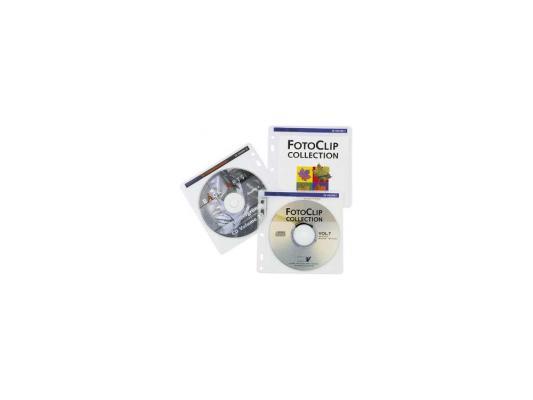 Конверты Hama для 2 CD/DVD с перфорацией для портмоне с кольцами белый/прозрачный 100шт H-62611