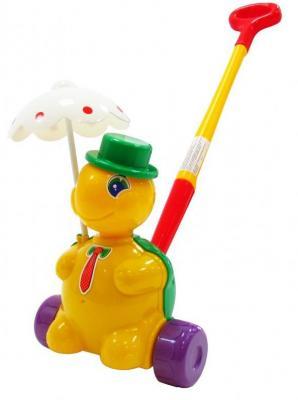 Каталка на палочке Полесье Черепашка Тортила разноцветный от 1 года пластик 3637 каталка на палочке полесье утёнок пластик от 1 года с ручкой желтый 7925