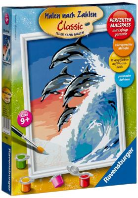 Набор для рисования Ravensburger Раскрашивание по номерам: Дельфины от 9 лет наборы для рисования ravensburger набор для рисования раскрашивание по номерам дикие лошади