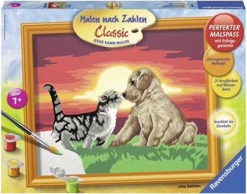 Набор для творчества Ravensburger Раскрашивание по номерам Котенок и щенок от 7 лет ravensburger раскрашивание по номерам дельфины