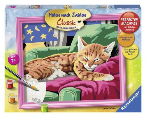 Купить Набор для рисования Ravensburger Раскрашивание по номерам: Спящий котенок от 7 лет 28425