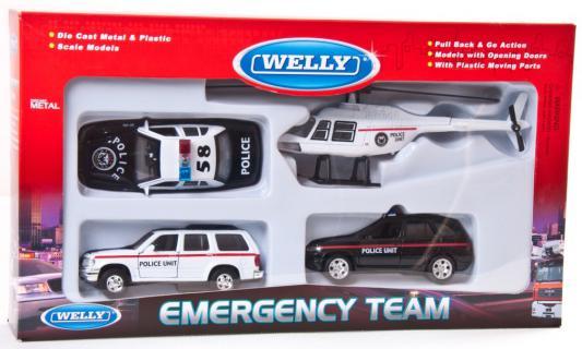 Игровой набор Welly Полиция разноцветный 4 шт 10 см