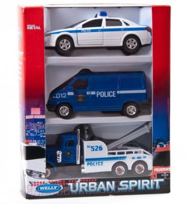 Игровой набор Welly Полиция разноцветный 3 шт 996103A welly 99610 3a велли игровой набор машин полиция 3 шт