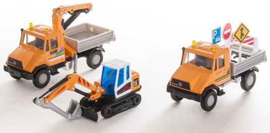 Игровой набор Welly Строительная техника оранжевый 3 шт 10 см 99610-3G(B)