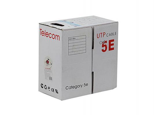 Кабель Telecom UTP 4 пары категория 5e CCA 305м серый UTP4-TC305C5EN-CCA-IS