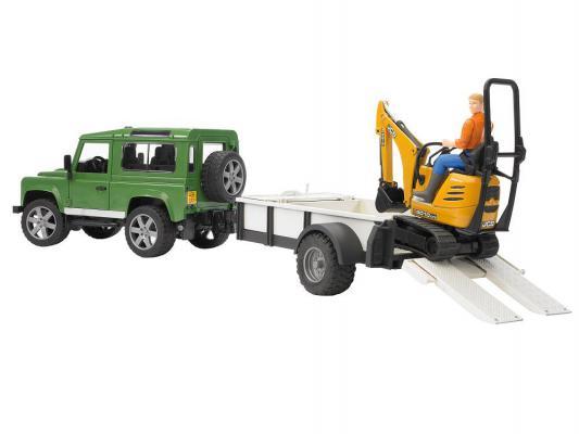 Набор Bruder Внедорожник Land Rover Defender c прицепом-платформой и гусеничным мини-экскаватором разноцветный 2 шт 02-593