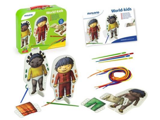 Настольная игра Miniland развивающие Со шнуровкой В мире детей 36033 магнитная игра развивающие miniland магнитные буквы заглавные 64 элемента 97925