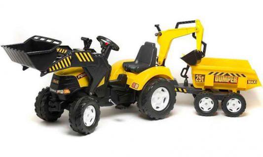 Педальный трактор-экскаватор Falk с прицепом 225 см.