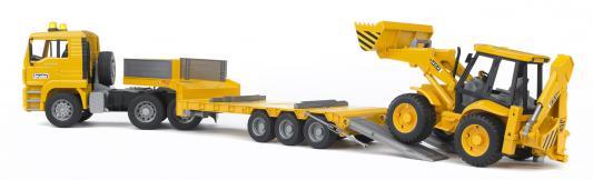 Тягач Bruder с прицепом- платформой и колёсным эвакуатором-погрузчиком желтый 1 шт 42.5 см 02776