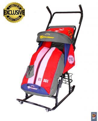 Санки-коляска RT Герда 42-Р5 Тачки Эксклюзив с 4 колесиками и корзинкой до 50 кг серый красный сталь