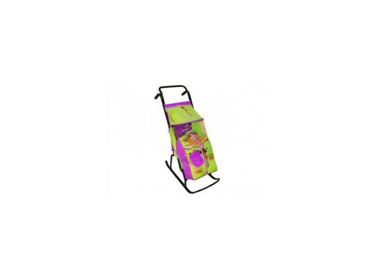 Купить Санки-коляска RT Снегурочка 2-Р Медвежонок до 50 кг сиреневый салатовый сталь, .NoBrand, салатовый, сиреневый, Санимобиль
