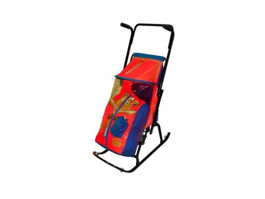 Санки-коляска RT Снегурочка 2-Р Медвежонок до 50 кг синий красный сталь коляска rudis solo 2 в 1 графит красный принт gl000401681 492579