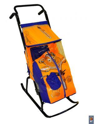 цена на Санки-коляска Снегурочка 2-Р Медвежонок (синий-оранжевый)