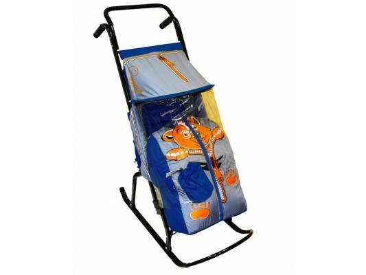 Санки-коляска RT Снегурочка 2-Р Медвежонок до 50 кг синий серый сталь rt санки коляска кенгуру 2