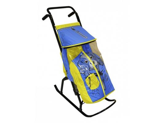 Санки-коляска RT Снегурочка 2-Р Собачка до 50 кг желтый голубой сталь
