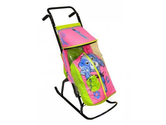 Купить Санки-коляска RT Снегурочка 2-Р Собачка до 50 кг салатовый розовый сталь, R-Toys, салатовый, розовый, Санимобиль