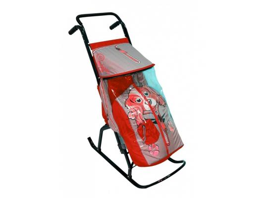 Санки-коляска RT Снегурочка 2-Р Собачка до 50 кг серый красный сталь