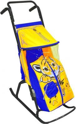 Санки-коляска RT Снегурочка 2-РТигренок до 50 кг желтый голубой дюспо металл