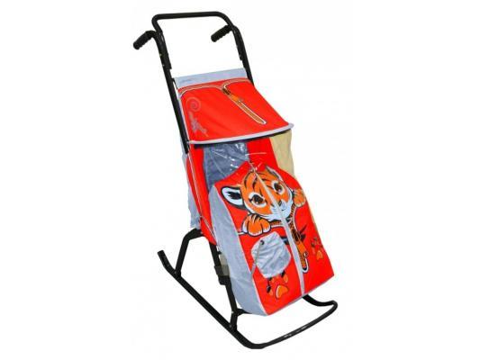 Санки-коляска RT Снегурочка 2-Р Тигренок до 50 кг серый красный сталь spring тигренок красный