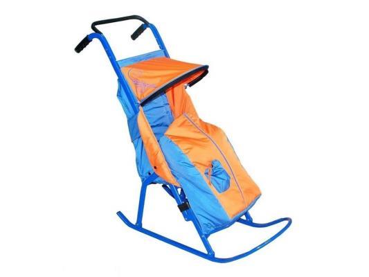 Санки-коляска — Снегурочка 2-Р1Снежинки до 50 кг голубой оранжевый сталь снегурочка в зазеркалье 2019 01 03t15 00