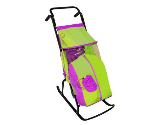 Санки-коляска RT Снегурочка 2-Р1 Снежинки до 50 кг сиреневый салатовый сталь